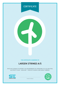 Green Energy Certification Larsen Strings A/S