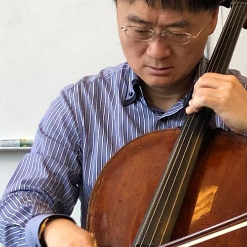 Jian Wang at Larsen Strings HQ
