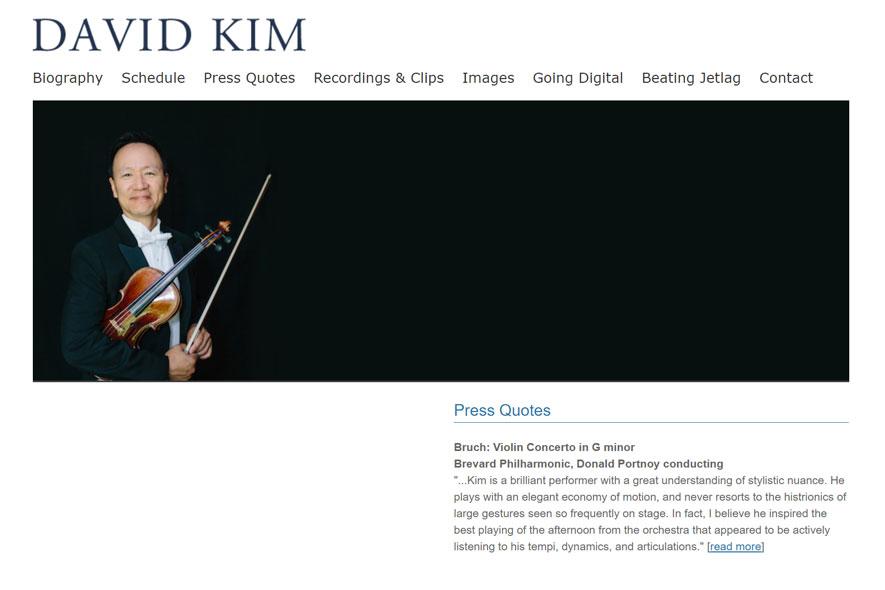 David Kim Violin Website