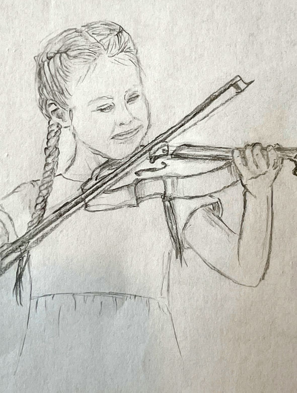 A young violinist by Olivia